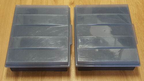 2 VINTAGE STACKABLE ALPHA VHS VIDEO TAPE HOLDER CASES STORAGE WITH LIDS