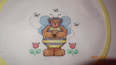 New Teddy Bear Bee Costume baby bib, Girl or Boy, Finished Cross Stitch Unisex](Baby Boy Bear Costume)