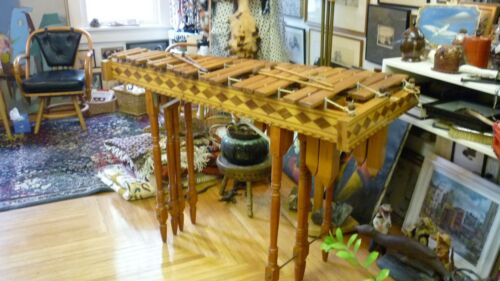 SOUTH AMERICAN MARIMBA !!! VINTAGE HAND CRAFTED  ,WOOD INLAY / MALLET PERCUSSION