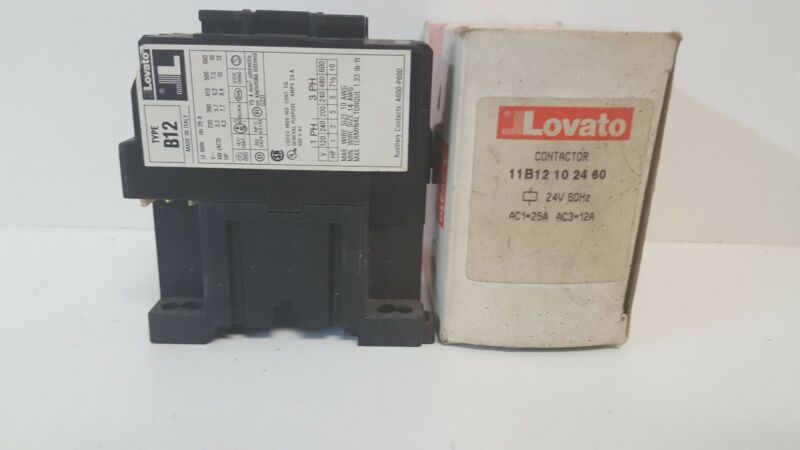 NEW OLD STOCK! LOVATO 40A CONTACTOR 11B12102460 TYPE B12 22/24V 50/60HZ COIL