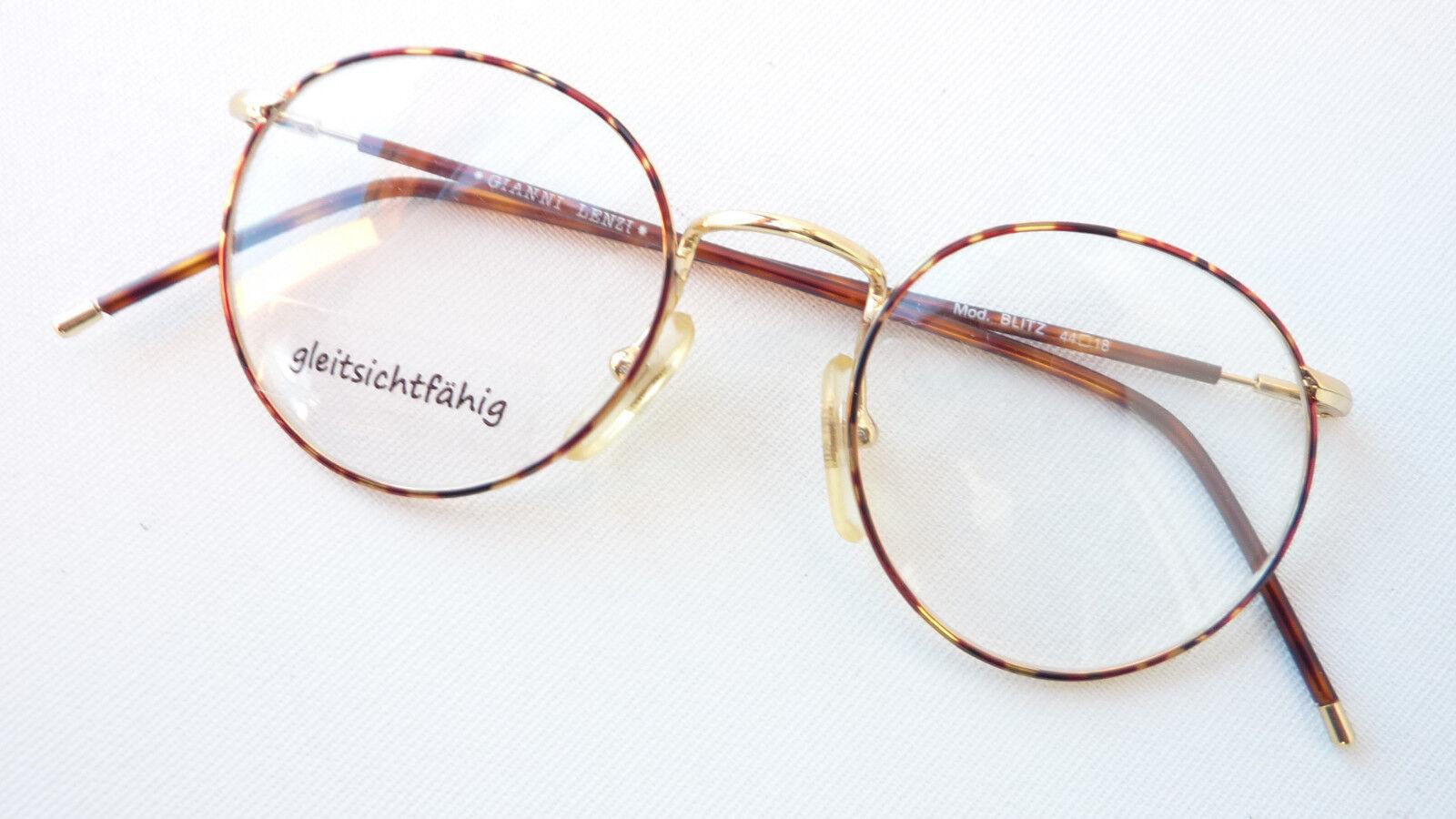 Brille Brillenfassung gold braun havanna Pantoform rund klein leicht neu Gr:S