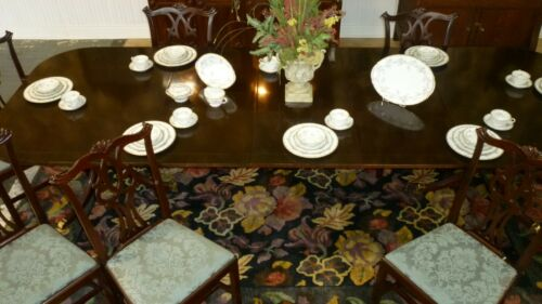 Set Of 8 KITTINGER Richmond Hill Mahogany Chippendale Dining Chairs, Excellent