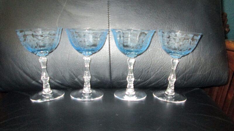 """Set of 4 Fostoria Navarre Blue Crystal Champagne Sherbet Glasses 5 1/2"""" Etched"""