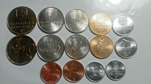SLOVAKIA: 7-PIECE UNCIRC. COIN SET, 0.10 TO 10 KORUNA