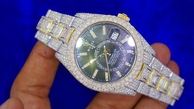 Rolex Skydweller  2 Tone Watch Iced Out Baguettes and Round 34 Carat Diamonds