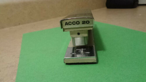 Vintage ACCO 20 Desk Stapler Industrial Teal and Chrome Working Condition