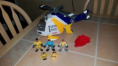Imaginext Yellow Blue White Helicopter 4 with 3 Figures and Small Red Boat