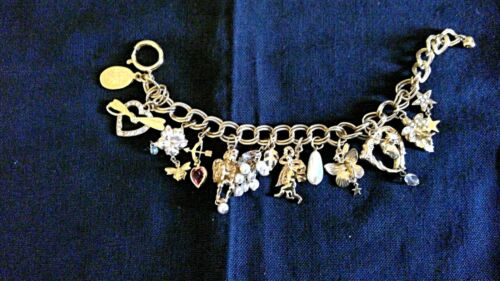 Beautiful Charm Bracelet with 13 Charms - gold in color