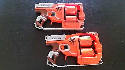 Lot 2 Nerf FlipFury Blasters Guns-USED, VGC- N-strike Elite Zombie Strike