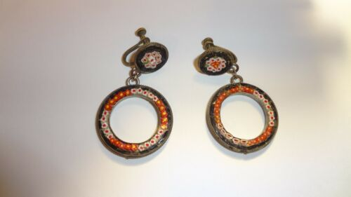 Antique Italian Micro Mosaic Micromosaic Hoop Screw Back Earrings