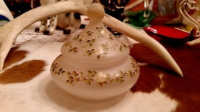 Fenton Art Glass Hand Painted Flowers On A Frosted Low Candy / Powder Jar