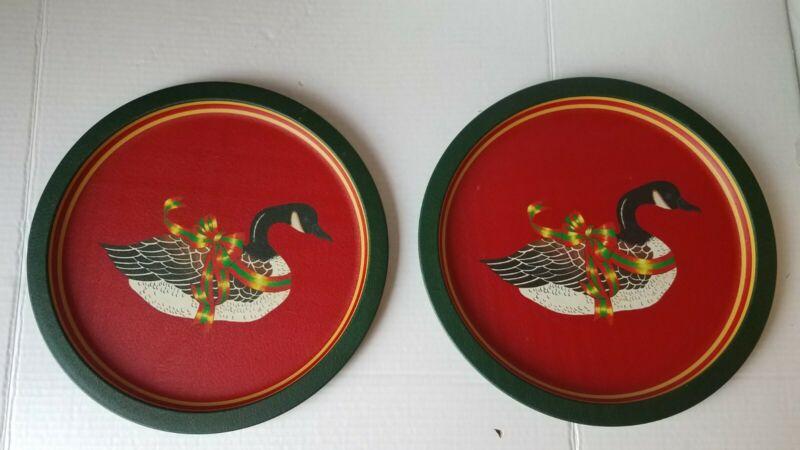 """Vintage Canadian Goose Christmas Tin Tray 11.75""""  Holiday Xmas Wang"""