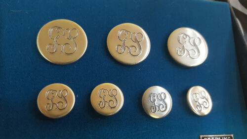 """Solid Sterling """"GS"""" Monogram Initials Blazer Seven Piece Buttons Set - Sew On ^"""
