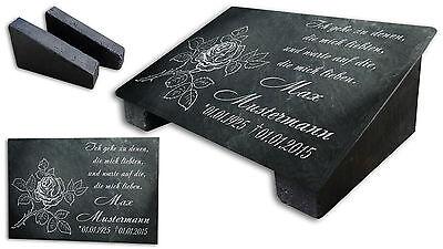 Grabstein Gedenktafel Grabplatte Urne Tiergrabstein Gedenkplatte Bodenrose ST