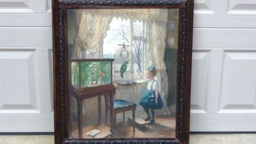 "Antique 1919 Germanschool Oil On Canvas ""girl And Parrot"" By Robert Panitzseh"