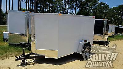 New 2021 5 X 8 5x8 V-nosed Enclosed Cargo Motorcycle Trailer W Rear Swing Door