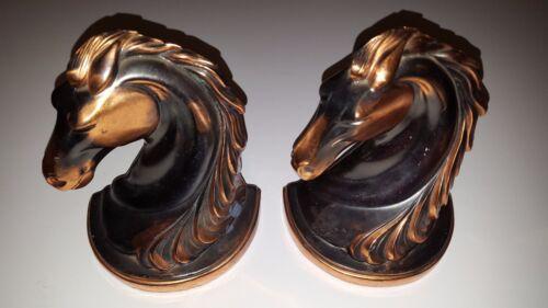 Vintage Pair BEAUTIFUL ART DECO FLOWING MANE BRONZE HORSE HEAD BOOKENDS