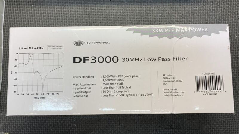 RF Limited DF-3000 Low Pass Filter CB And Amateur Radios 10-12 Meter Band 30MHz