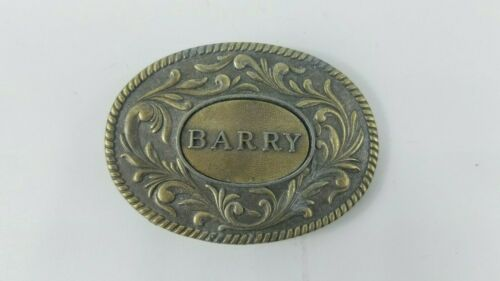 Vintage Belt Buckle Barry Brass The Kinney Company 1977 Western