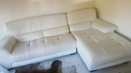Leather Lounge Chaise 2 + 3 white