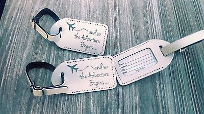 50 white,  Wedding favor leather, escort luggage tags,  $2.00 -
