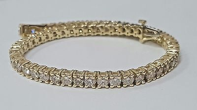 8.00CT ROUND CUT DIAMONDS TENNIS BRACELET 14k YELLOW GOLD CERTIFIED F-VS1