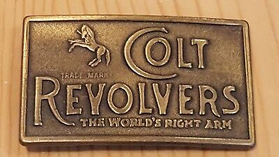 Vintage Colt Revolvers Gun Pistol Copper Look 1980s NOS New Belt Buckle