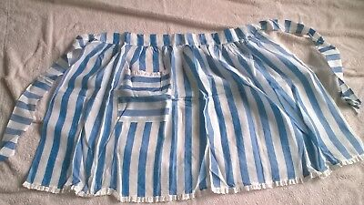 Vintage Ladies APRON by Margaret Booker in Blue/white stripe & lace hemline VGC