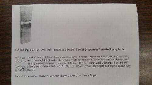 CLASSIC SERIES SEMI-RECESSED PAPER TOWEL DISPENSER/WASTE RECEPTACLE