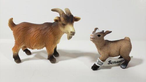Schleich 2 DWARF PYGMY GOAT Farm Animal 13602 13601 Retired