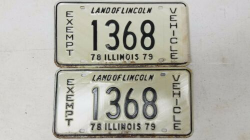 1978 & 79 ILLINOIS Land of Lincoln Exempt Vehicle License Plate 1368 PAIR