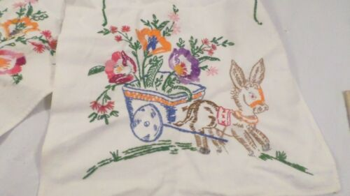 """34 x 11 1/2"""" Vintage Hand Embroidered Animal Donkey Floral Doily Tea Towel"""
