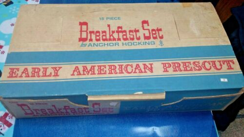 ANCHOR HOCKING EARLY AMERICAN PRESCUT VINTAGE BREAKFAST SET #700 764