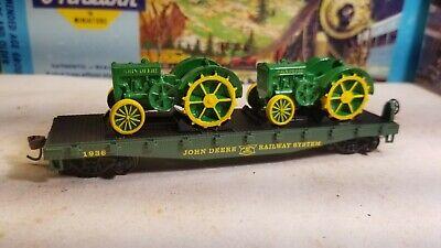 Athearn John Deere ~ HO flat car for train set, model d tractor load - new