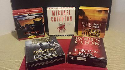 Lot of 5 Drama Mystery CD Audiobooks Crichton~Quinn~Patterson~Cook~Ludlum's