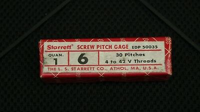 Starrett No. 6 Machinist Thread Pitch Gage 30 Pitches 4 - 42 V Threads Usa