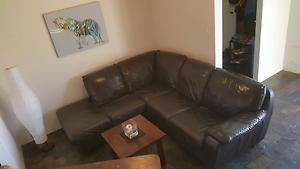 Beautiful Genuine leather,dark brown corner lounge RRP $3900 Craigie Joondalup Area Preview