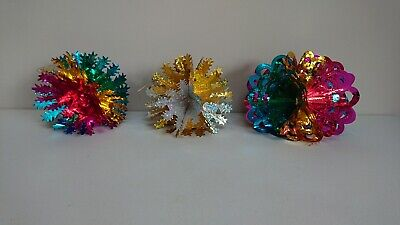 3 x Vintage Coloured Foil Christmas kitsch prop Retro Xmas decorations stars old