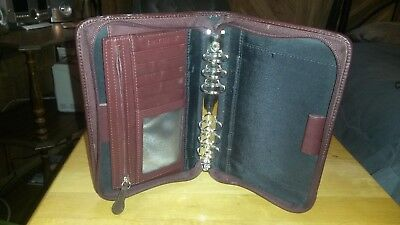 Portable 1.0 Burgundy Leather Day Timer Planner Binder Compact Franklin Covey