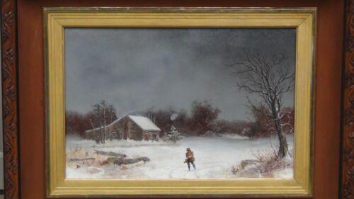 "William Van De Velde Bonfield(1834-1885)original Oil On Canvas""the Snow Storm"""