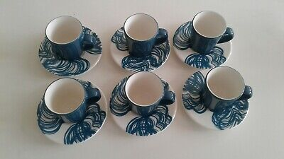 SET OF SIX Iittala Finland designer espresso cups and saucers Teal