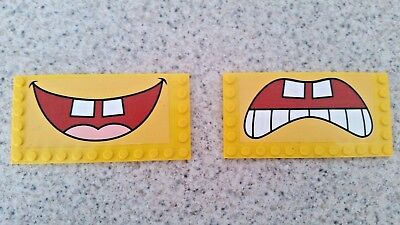 2 Lego 3826 Build a Bob part 6x12 modified tile studs on edge mouth stickers