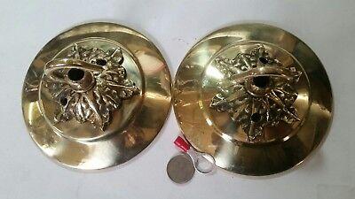 2 x  Large CEILING ROSE 105mm chandelier hook ANTIQUE c1910/20 cast brass OLD