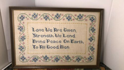 "Vintage Completed Cross Stitch Sampler Framed ""LOVE WE ARE GIVEN"" FLORAL POEM FS"