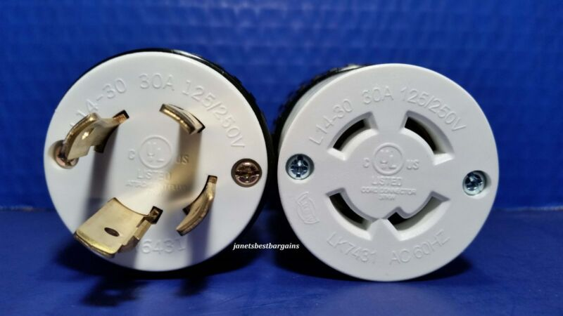 30 Amp 125/250 Volt Male Female Twist Lock Set 4 Prong Plug Nema L14-30P L14-30R