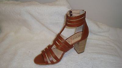 Sole Society Leather Block Heel Sandals - Elise brown 9.5m new