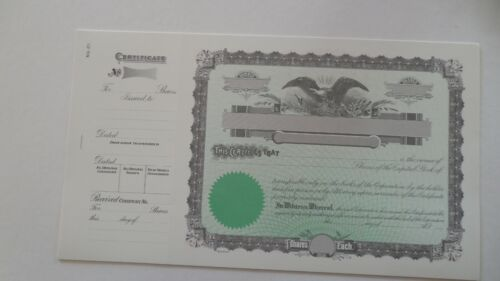 Blank Stock Certificates Lot of 10