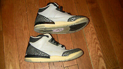 BOYS NIKE AIR JORDAN III SHOES SNEAKERS GRAY 3 SIZE 1Y GOOD CONDITION