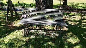 grey Steel slat garden bench seat Bethania Logan Area Preview