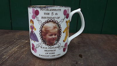 1993 Princess Beatrice of York 5th Birthday China mug Only 100 made